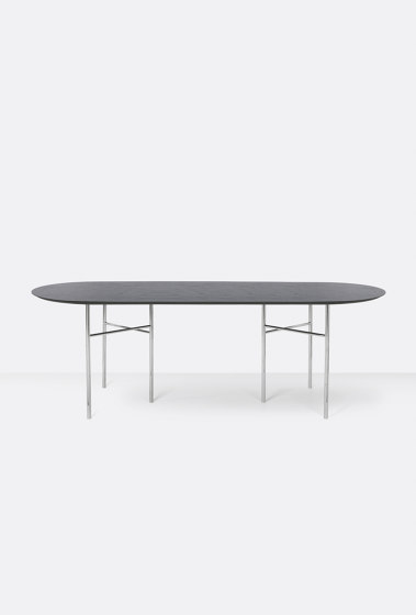 Mingle Oval Table Top - 220cm – Black Veneer by ferm LIVING | Dining tables