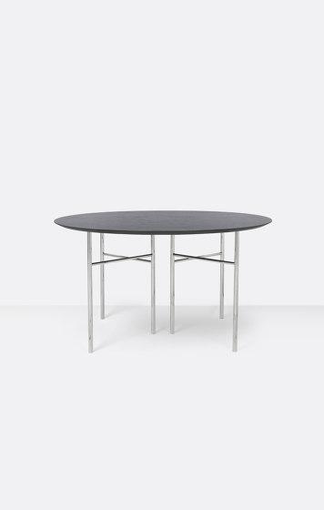 Mingle Round Table Top - Ø: 130cm – Black Veneer by ferm LIVING | Dining tables