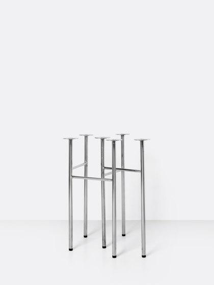 Mingle Table Legs - W48 - Chrome by ferm LIVING | Trestles