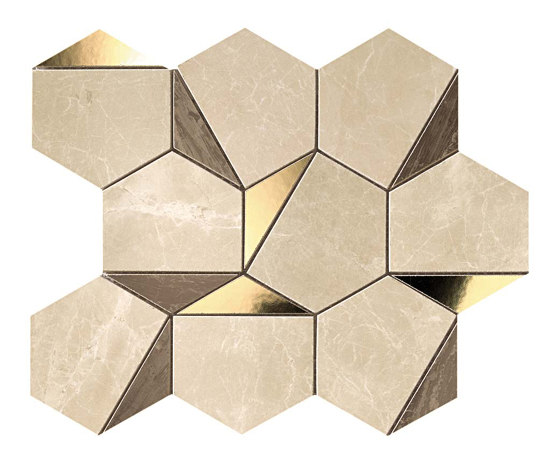 Marvel Gold Hex Brown-Calacatta by Atlas Concorde | Ceramic mosaics