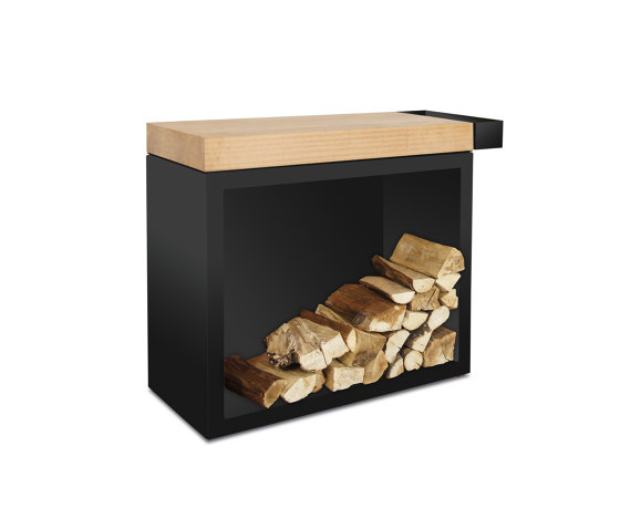 Butcher Block Storage Black 45-90-88 by OFYR | Fireplace accessories