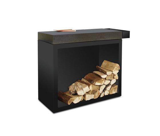 Butcher Block Storage Black 45-90-88 Ceramic Dark by OFYR | Fireplace accessories