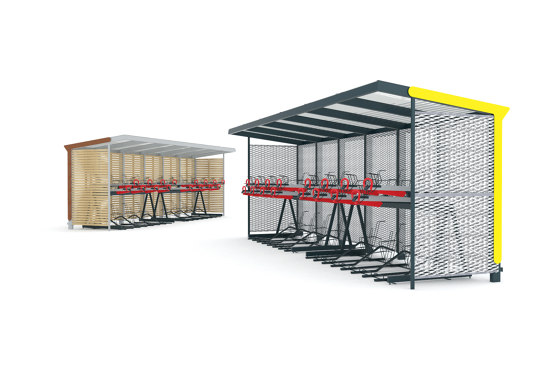 aureo velo | Shelter with two-tier bicycle parking by mmcité | Compact bicycle parking