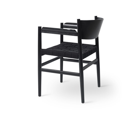 Nestor - Black Stained Beech with Black Linen Belt Seat by Mater | Chairs