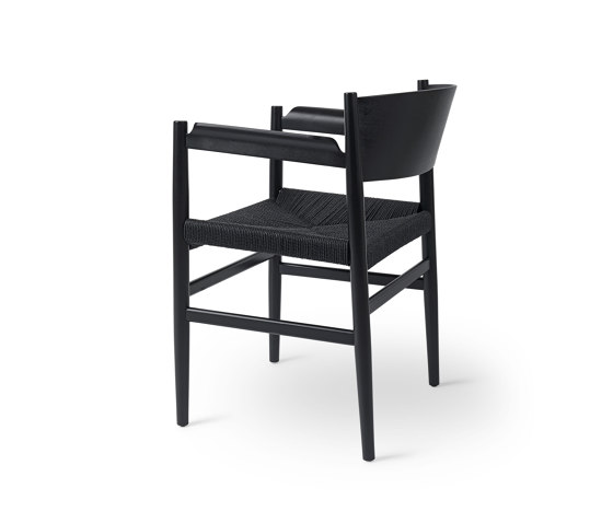 Nestor - Black Stained Beech with Black Paper Cord Seat by Mater | Chairs