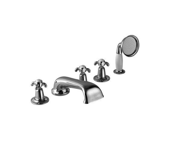 5-hole bath mixer with handset by Kenny & Mason | Bath taps