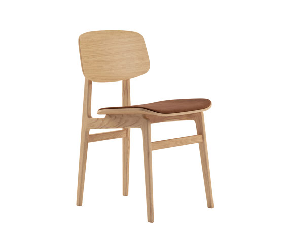 NY11 Dining Chair, Natural - Vintage Leather Rust de NORR11   Sillas