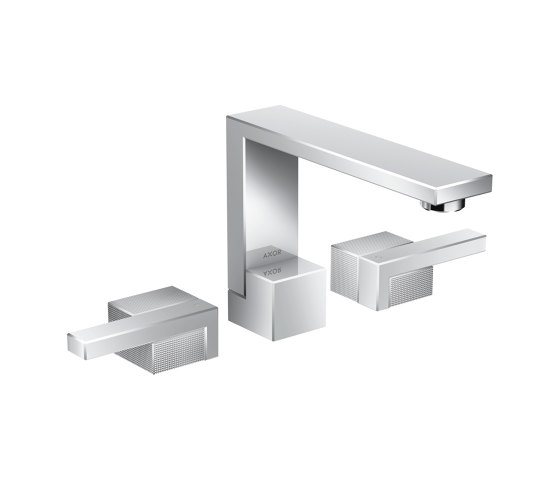 AXOR Edge | 3-hole basin mixer with push-open waste set - diamond cut by AXOR | Wash basin taps
