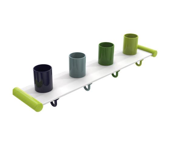Tumbler rack with hooks, 4 places | 800.03.400 di HEWI | Portasciugamani