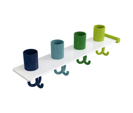 Extension set tumbler rack with hooks, 4 places | 800.03.412 di HEWI | Portasciugamani