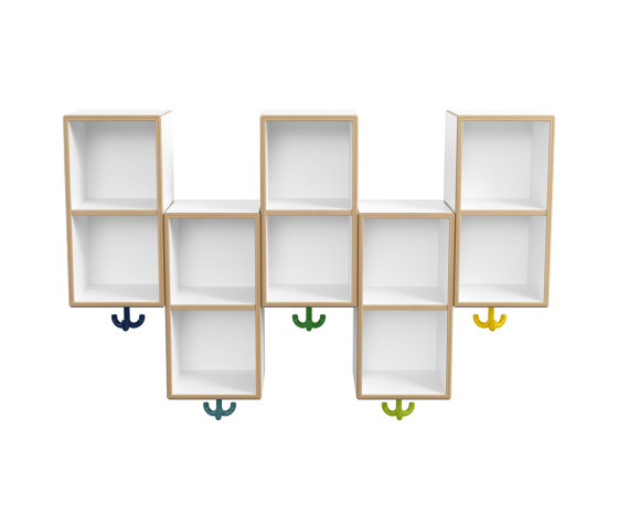 Double module asymmetric, 5 places with triple hooks | M20.03.003 by HEWI | Kids wardorbes