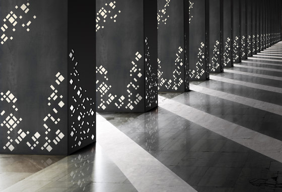 Decorative Square Metal Column Covers in 212 Patina with Custom Metro Laser Cut Pattern di Moz Designs   Lamiere metallo