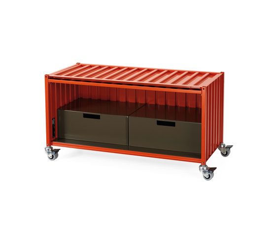 Container DS, red orange RAL 2001 by Magazin® | Sideboards