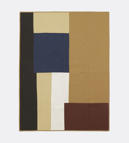 Shay Patchwork Quilt Blanket - Mustard by ferm LIVING | Plaids
