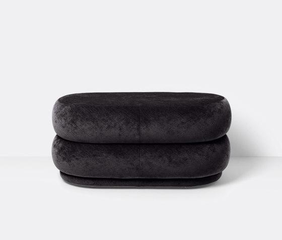 Pouf - Oval - Faded Velvet - Medium - Mokka 6 de ferm LIVING | Poufs