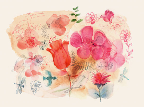 Watercolor and red flowers di WallPepper | Carta parati / tappezzeria