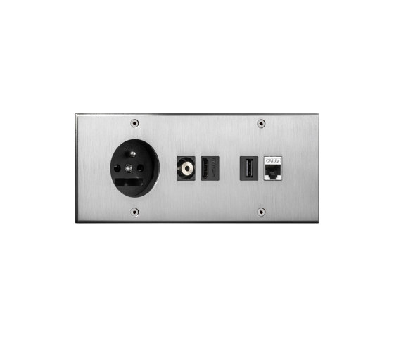 Cullinan - Brushed nickel - Socket + connectors by Atelier Luxus | Schuko sockets