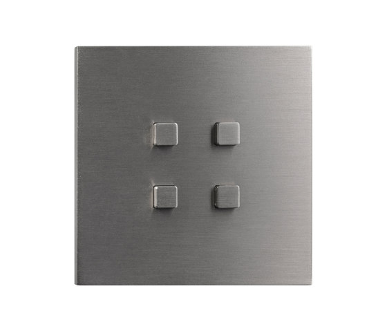 Facet - Brushed nickel - Square push-button by Atelier Luxus | Push-button switches