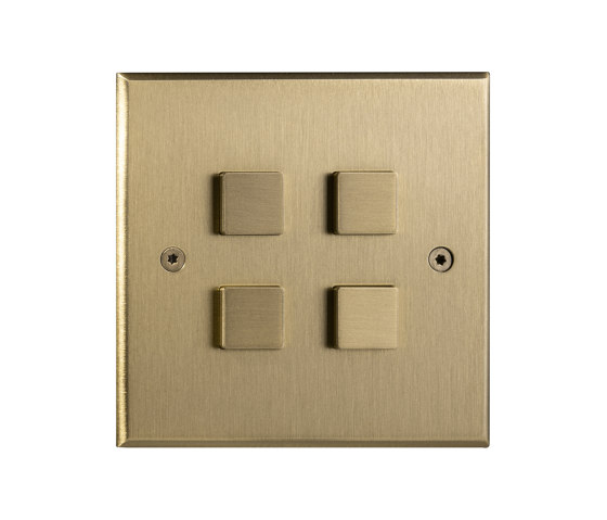 Hope - Brushed brass - Large square button by Atelier Luxus | Push-button switches