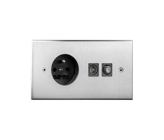 Cullinan - Brushed nickel - socket - connectors by Atelier Luxus | Schuko sockets