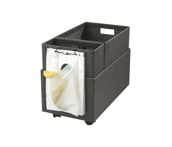 Recycling box Double with clips and wheels, graphite by BIARO   Waste baskets