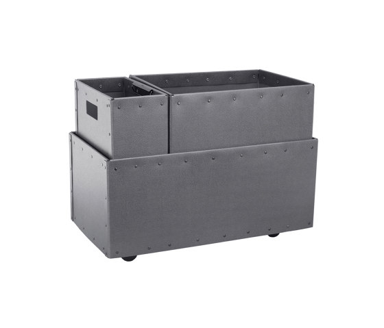 Recycling box Double with clips inside and wheels, graphite by BIARO | Waste baskets