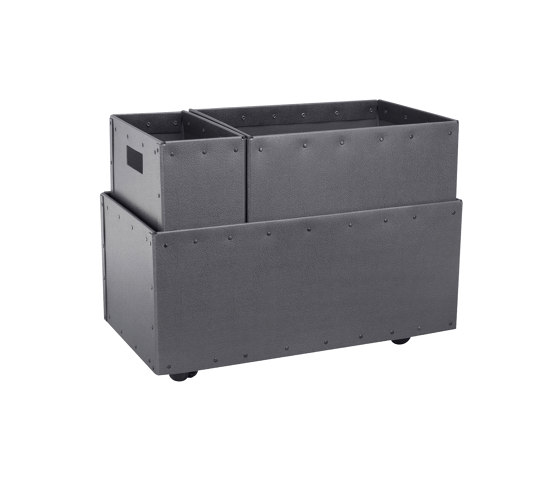 Recycling box Double with wheels, graphite by BIARO | Waste baskets