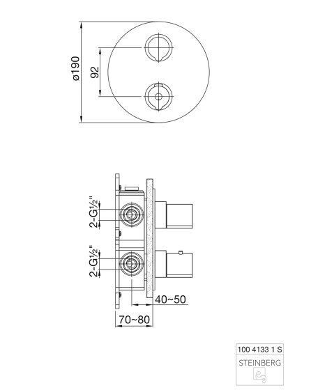 100 4133 1 S Finish set for concealed thermostatic mixer with 2 way diverter by Steinberg | Shower controls