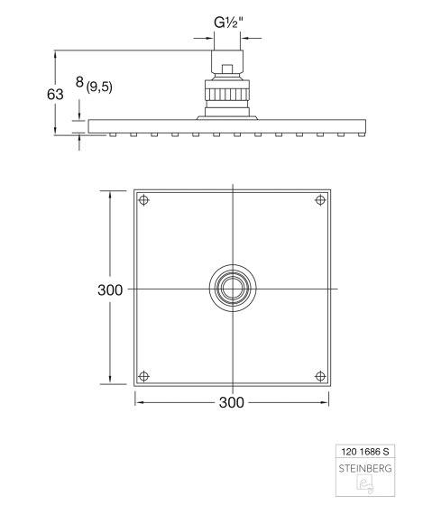 120 1686 S Regenbrause 300 x 300 x 8 mm von Steinberg | Duscharmaturen
