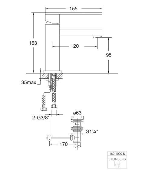 160 1000 S Waschtisch-Einhebelmischer von Steinberg | Waschtischarmaturen