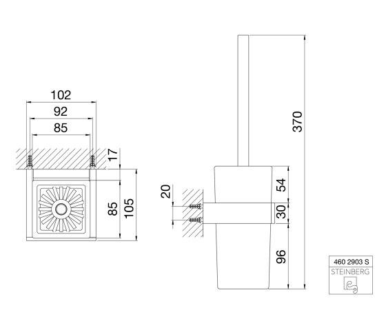 460 2903 S Toilet brush set with glass by Steinberg | Toilet brush holders