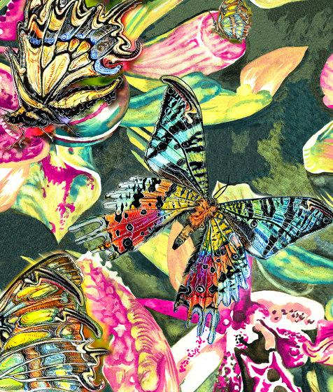 Flowers Butterflies white | artist wallpaper by Ginny Litscher | Wall coverings / wallpapers