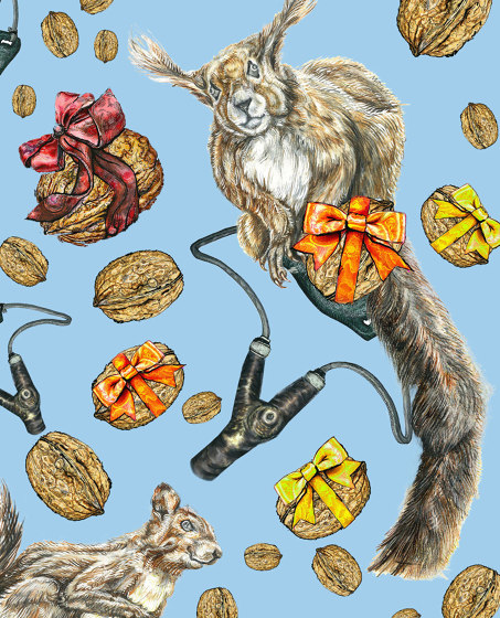 Squirrel   artist wallpaper by Ginny Litscher   Wall coverings / wallpapers