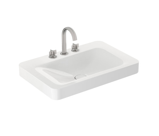 BASINS | 750 mm wall-hung or pedestal washbasin for 3-hole basin mixer | Glossy White by Armani Roca | Wash basins