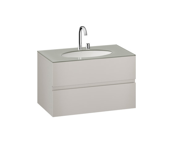 FURNITURE | 1000 mm Furniture with upper and lower drawer for single 670 mm under-counter washbasin | Silver by Armani Roca | Vanity units
