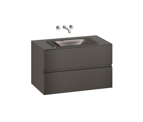 FURNITURE   1000 mm wall-hung furniture for  countertop washbasin and wall-mounted basin mixer   Nero by Armani Roca   Vanity units
