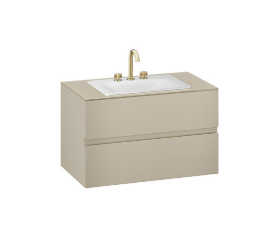 FURNITURE   1000 mm wall-hung furniture for countertop washbasin and deck-mounted basin mixer   Greige by Armani Roca   Vanity units
