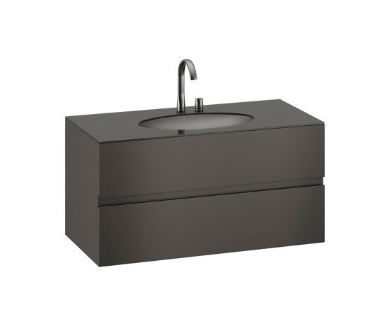 FURNITURE   1200 mm Furniture with upper and lower drawer for single 670 mm under-counter washbasin   Nero by Armani Roca   Vanity units
