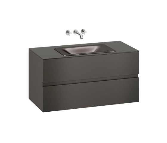 FURNITURE | 1200 mm wall-hung furniture for  countertop washbasin and wall-mounted basin mixer | Nero by Armani Roca | Vanity units