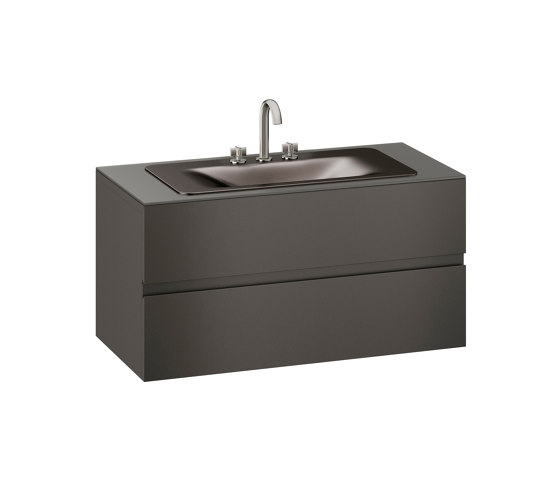 FURNITURE | 1200 mm wall-hung furniture for countertop washbasin and deck-mounted basin mixer | Nero by Armani Roca | Vanity units