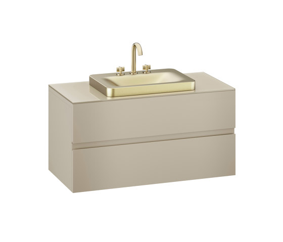FURNITURE   1200 mm wall-hung furniture for over countertop washbasins and deck-mounted basin mixers   Greige by Armani Roca   Vanity units