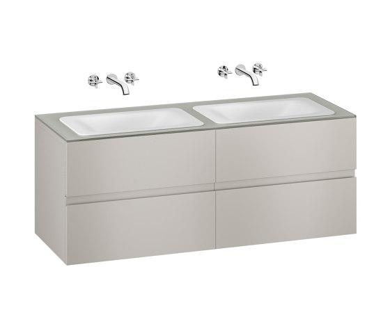FURNITURE | 1550 mm wall-hung furniture for  2 countertop washbasins and wall-mounted basin mixers | Silver by Armani Roca | Vanity units