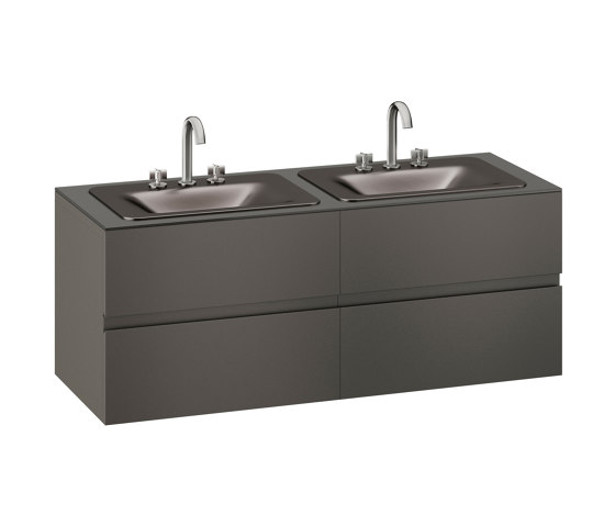 FURNITURE   1550 mm wall-hung furniture for 2 countertop washbasins and deck-mounted basin mixers   Nero by Armani Roca   Vanity units