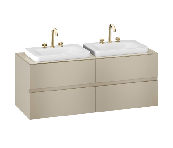 FURNITURE | 1550 mm wall-hung furniture for 2 over countertop washbasins and deck-mounted basin mixers | Greige by Armani Roca | Vanity units