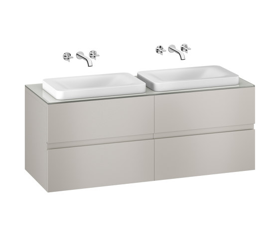 FURNITURE | 1550 mm wall-hung furniture for 2 over countertop washbasins and wall-mounted basin mixers | Silver by Armani Roca | Vanity units