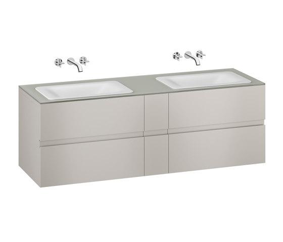 FURNITURE | 1800 mm wall-hung furniture for  2 countertop washbasins and wall-mounted basin mixers | Silver by Armani Roca | Vanity units