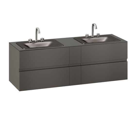 FURNITURE | 1800 mm wall-hung furniture for 2 countertop washbasins and deck-mounted basin mixers | Nero by Armani Roca | Vanity units