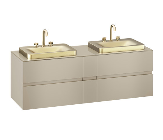 FURNITURE   1800 mm wall-hung furniture for 2 over countertop washbasins and deck-mounted basin mixers   Greige by Armani Roca   Vanity units