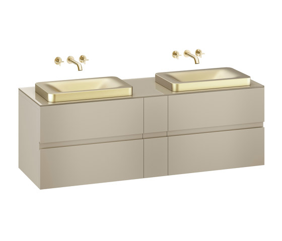 FURNITURE | 1800 mm wall-hung furniture for 2 over countertop washbasins and wall-mounted basin mixers | Greige by Armani Roca | Vanity units