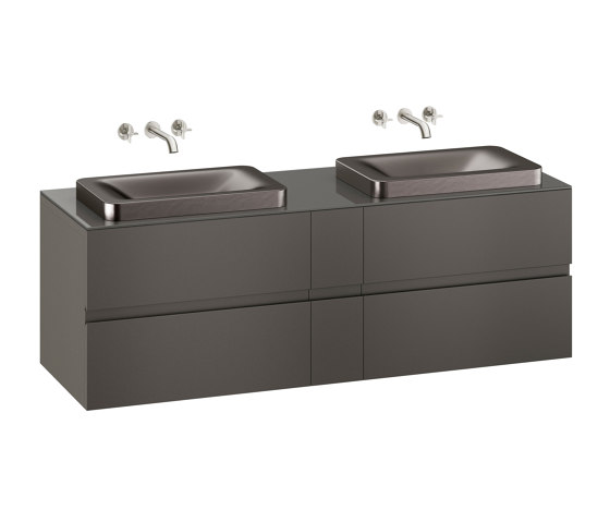 FURNITURE   1800 mm wall-hung furniture for 2 over countertop washbasins and wall-mounted basin mixers   Nero by Armani Roca   Vanity units